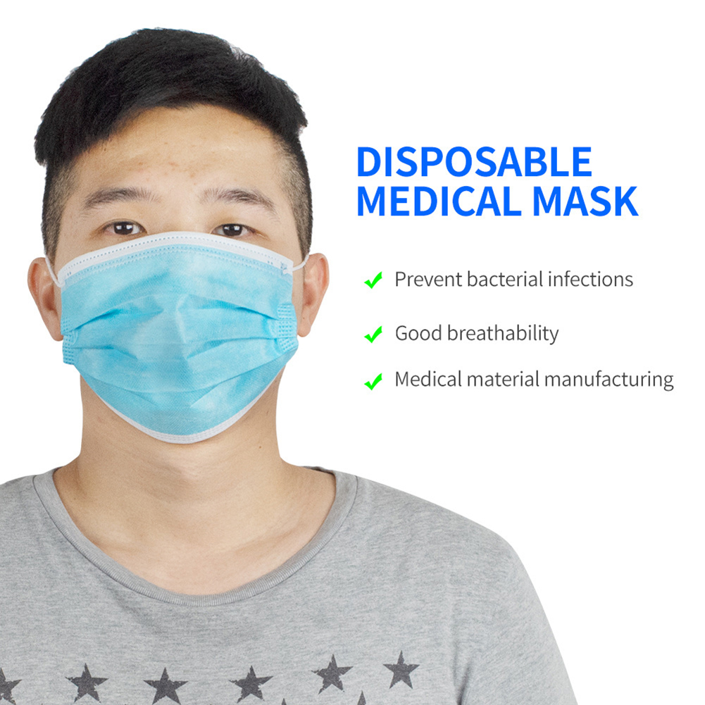 50 Pcs Disposable Protective Cycling Face Mask Dustproof Face Mouth Masks Anti Pm2.5 Anti Influenza Breathing Safety Masks