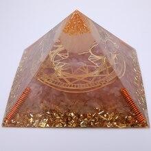 3.74inch Rose Quartz Orgonite Pyramid For Attracting New Love Energy Balancing Crystal Orgone Pyramid Meditation Reiki Decor