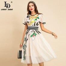 Ld linda della novo 2021 moda feminina verão pista midi vestido borboleta manga lantejoulas bordados senhoras magro a-line vestidos
