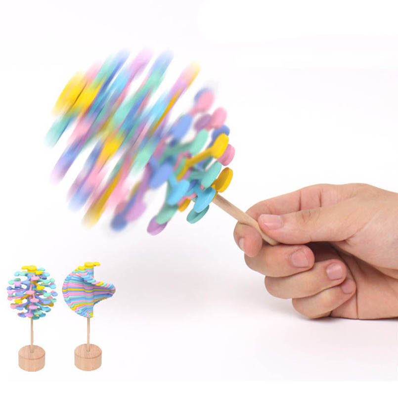 Wooden Helicone Magic Wand Roll Stress Relief Toy Children Rotating Lollipop Creative Toys Decompression Art Home Decoration