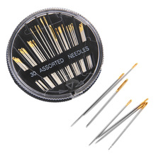 лучшая цена Boxed sewing needles Sewing needles 30-piece disc needle box Gold tail 12G stainless steel sewing needle crochet needle hooks