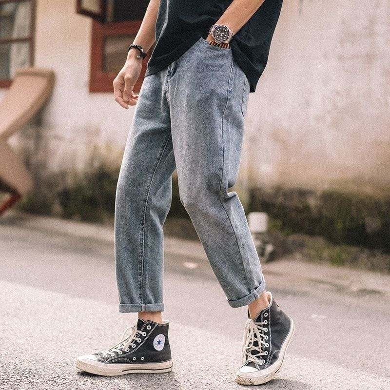 2020 Vintage Plus Velvet Jeans Men's Loose Straight Pants Men's Korean Trend Student Long Pants