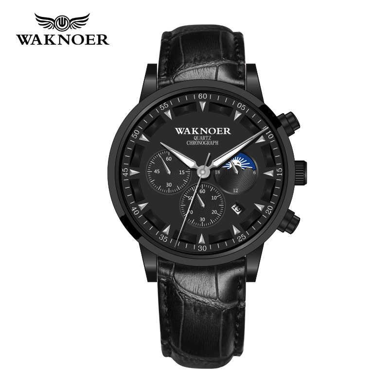 ใหม่ WAKNOER ยี่ห้อนาฬิกากันน้ำนาฬิกาข้อมือผู้ชายนาฬิกา Relogio Masculino นาฬิกาแฟชั่นผู้ชาย Reloj Hombre ชายนาฬิกาเวลา