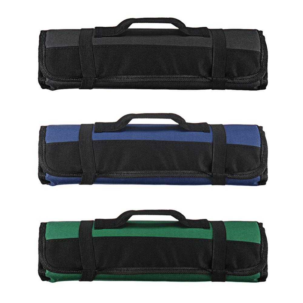 LOYPA Chef Knife Bag Roll Bag Carry Case Bag Kitchen Cooking Portable Durable Storage 22 Pockets Black Blue Green