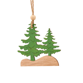 1PC 2020 Wooden Hanging Christmas Tree Cabin Elk Car Ornament Xmas Party Home Decor for home navidad D2 image