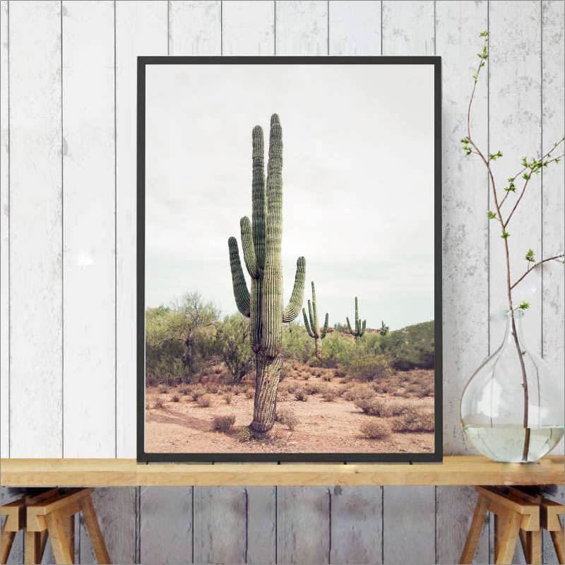 Tall Cactus Poster Desert Art Cacti Print Cactus Decoration Canvas Paintings Nature Art Wall Pictures Boho Decor No