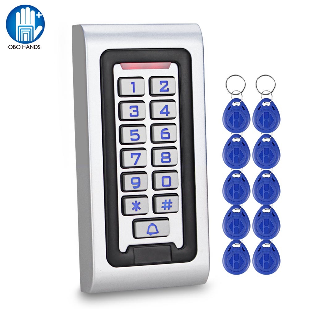 Waterproof Access Controller RFID Access Control Keypad Full Program Standalone Weigand 26 Card Reader With 125khz RFID Keyfobs