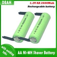 1,2 V 2600 мА/ч, 2A металл-гидридных или никель AA перезаряжаемый аккумулятор со сварочным вкладки для Philips электробритва бритва зубной щетки AA бат...