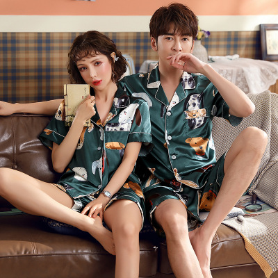 Couple Pajamas Woman Short Simulation Silk 2 Piece Set Pajamas Men Spring Summer Korean Cartoon Couple Home Sleepwear Set