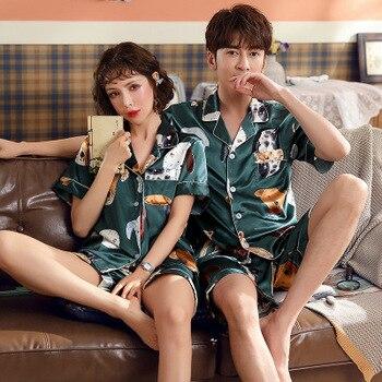 Couple Pajamas Woman Short Simulation Silk 2 Piece Set Men Spring Summer Korean Cartoon Home Sleepwear
