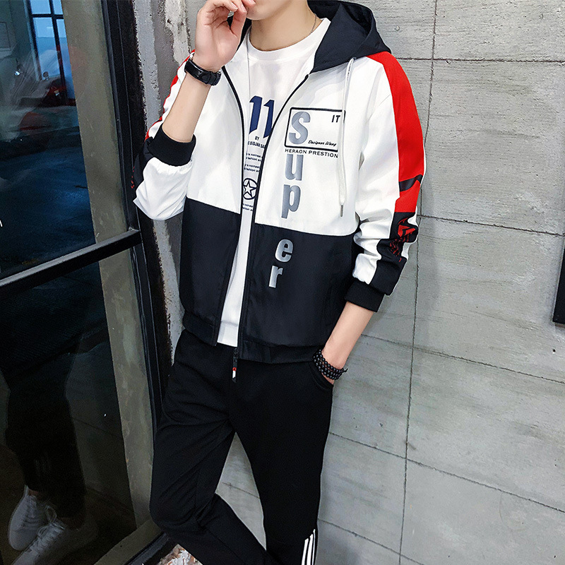 Hoodie Leisure Suit Men's Spring And Autumn New Products Hooded Men Two-Piece Set Korean-style Trend Handsome Students Coat Men'