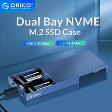 ORICO Dual Bay de aluminio M.2 NVME SSD recinto USB C 3,1 de Gen2 10Gbps para M clave y M/B/clave NVME PCIe SSD con 5V4A adaptador de corriente