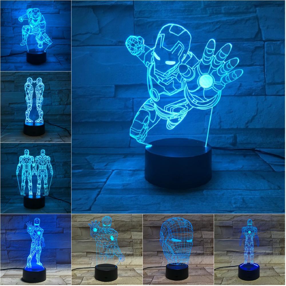 Marvel Figure Iron Man LED 3D Lamp Illusion Touch Night Light Auto Flash Multicolor RGB Home Decor USB Atmosphere Christmas Gift