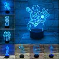 Marvel Figure fer homme LED 3D lampe Illusion tactile veilleuse Auto Flash multicolore RGB décor à la maison USB atmosphère cadeau de noël