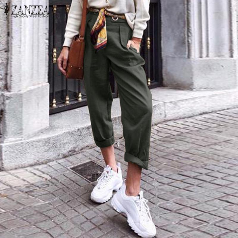 Stylish Casual Harem Pants Women's Autumn Trousers 2019 ZANZEA Elegant Side Zipper Long Pant Female Solid Pantalon Palazzo 5XL 7