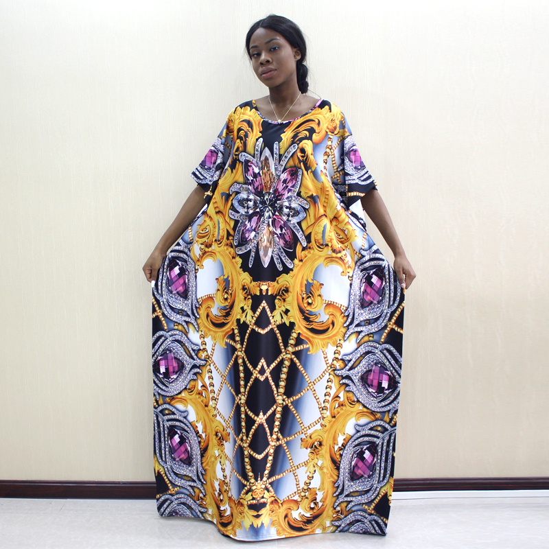Image 1 - 2019 Newest Design African Dashiki Dress Jewelry Pattern Print Yellow Dresses For WomenAfrica Clothing   -
