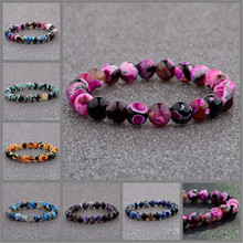 8MM Natural Lava Stone Colorful Beads Hand Beaded Couples Bracelets Bangle Jewelry Gifts Volcanic Bracelet Neutral