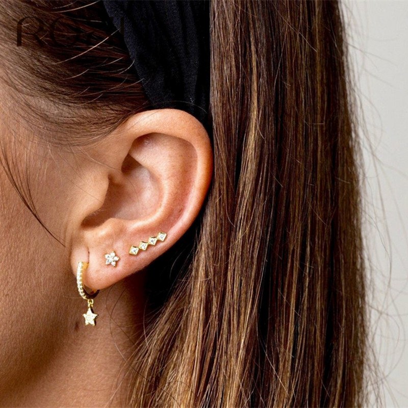 925 Sterling Silver Ear Crawler Cuff Climber Earrings Crystal CZ Charm Gift Rose