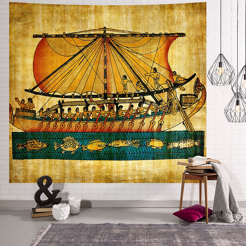 Image 5 - Yellow Ancient Egypt Tapestry Wall Hanging Old Culture Printed  Hippie Egyptian Tapestries Wall Cloth Home Decor Vintage  TapestryTapestry