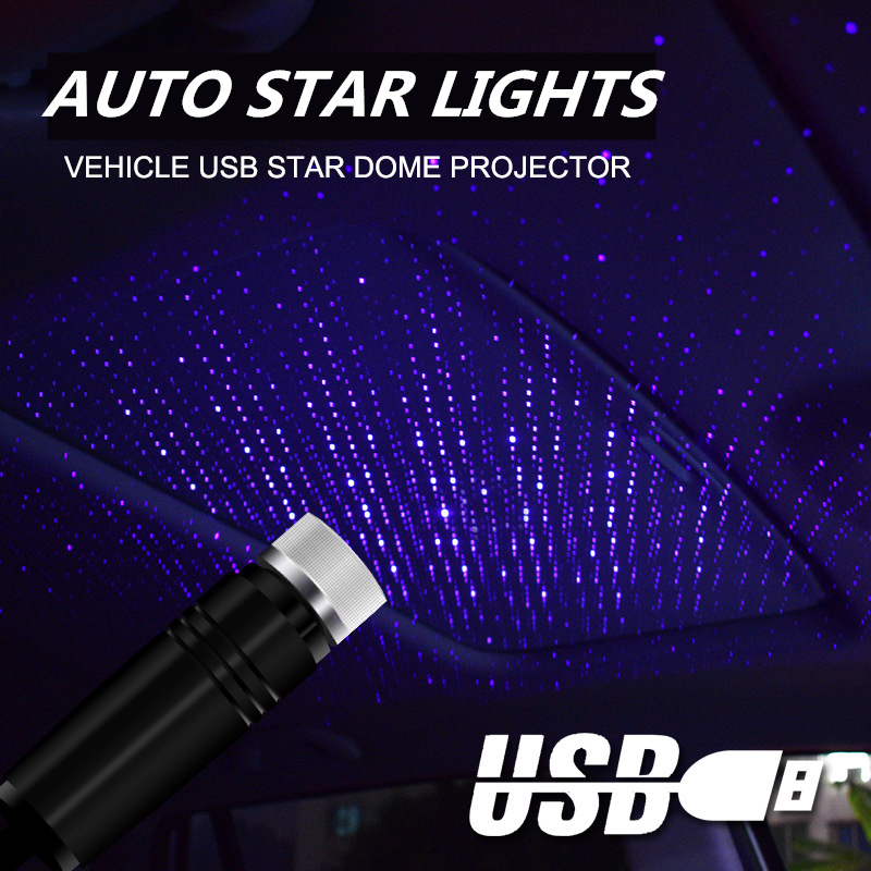 Car LED Roof Star Night Light Projector Atmosphere Galaxy Lamp USB Decorative Lamp Adjustable Multiple Lighting Effects