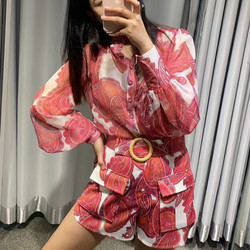 2020 Fashion Women Clothes Red Print 2 Piece Sets Long Sleeve Stand Collar Blouse and Shorts with Sash Cottom Linen
