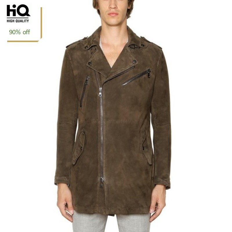 Mens Luxury 100% Sheepskin Suede Leather Long Jacket Motorcycle Genuine Leather Trench Coat Male Biker Zipper Streetwear Jackets