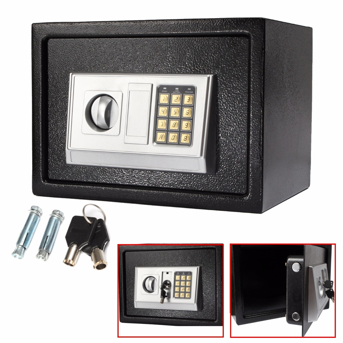 Black Steel Digital Electronic Coded Lock Home Office Safe Box + Override Key