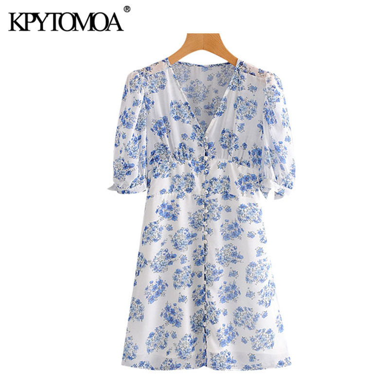 KPYTOMOA Women 2020 Chic Fashion Floral Print Button-up Mini Dress Vintage Short Sleeve With Lining Female Dresses Vestidos