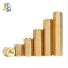 Espaçador hexagonal, 5-50 pçs hex fêmea a fêmea m2 m2.5 m3 m4 m5 espaçador desligamento de bronze pilares