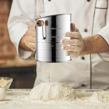 Sito do przesiewania mąki ze stali nierdzewnej półautomatyczne sito do przesiewania mąki ręcznie łukowate sito do przesiewania mąki z podziałkami jednowarstwowy filtr siatkowy do narzędzi tanie i dobre opinie HOSPORT CN (pochodzenie) Miarki kuchenne Flour