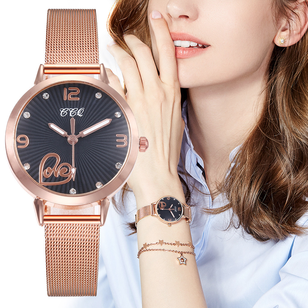 Cassic Style Women Watches Dot Digital Dial Ladies Fashion Quartz Wristwatch Rose Gold Mesh Belt Strap Clock Zegarki Damskie@50