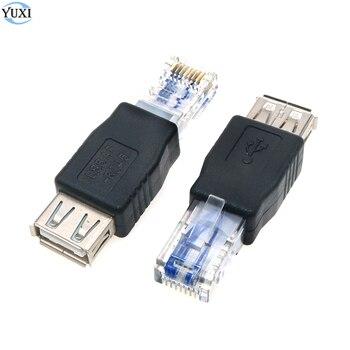 цена на 1x PC Crystal Head RJ45 Male to USB Type A Female Adapter Connector Laptop LAN Network Cable Ethernet Converter Transverter Plug