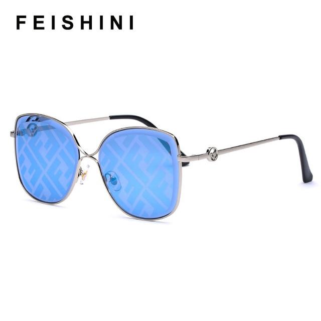 FEISHINI coupe miroir cadre en métal carré lunettes de soleil dames pas de LOGO mode femmes à la mode lunettes de soleil UV protecteur dégradé