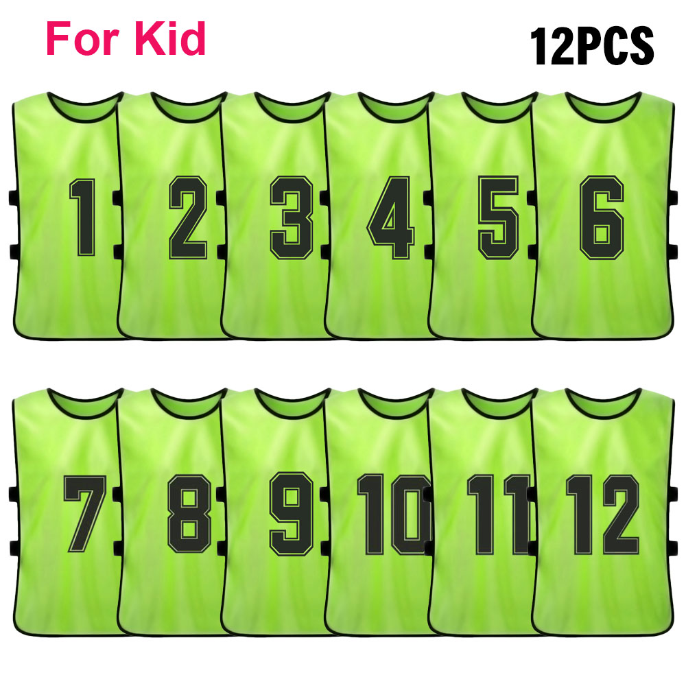 12 PCS Kid's Football Pinnies Quick Drying Soccer Jerseys Youth Sports Scrimmage Basketball Team Training Numbered Bibs Practice