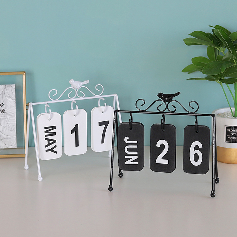 New European Wrought Iron Flip Calendar Creative Bird Decoration Durable Desktop Ornaments Metal Crafts