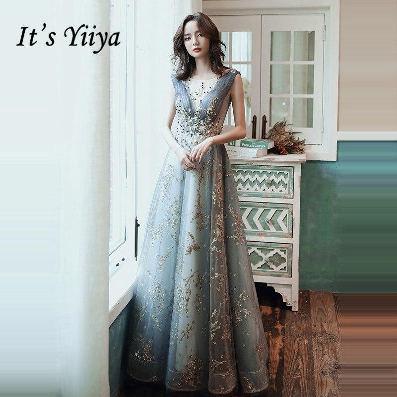 It's Yiiya Evening Dress Luxury Beading Crystal V-neck Formal Dresses Elegant V-neck Plus Size For Women Robe De Soiree LF004