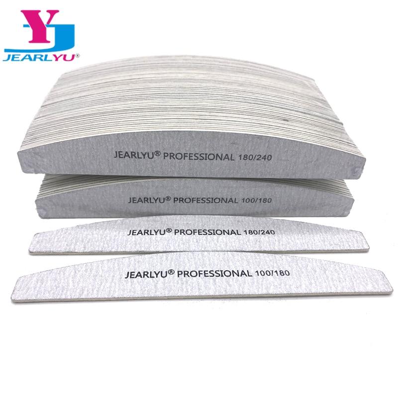 100Pcs/lot Professional Wooden Grit Grey Nail File 100/180/240 DIY Washable Manicure Sanding Tool Art Styling Moon File Set New