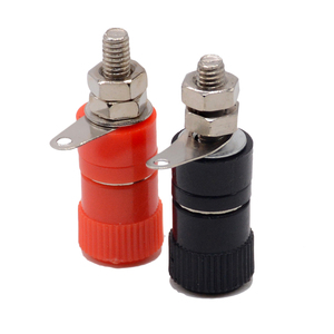 1PCS 4mm Banana Socket Nickel Plated Binding Post Nut Banana Plug Jack Connector Red Black(China)
