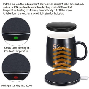 Image 3 - Coffee cup heater QC wireless charger 55 degree Celsius constant temperature cafe cup  warmer wereless charger 2 in 1