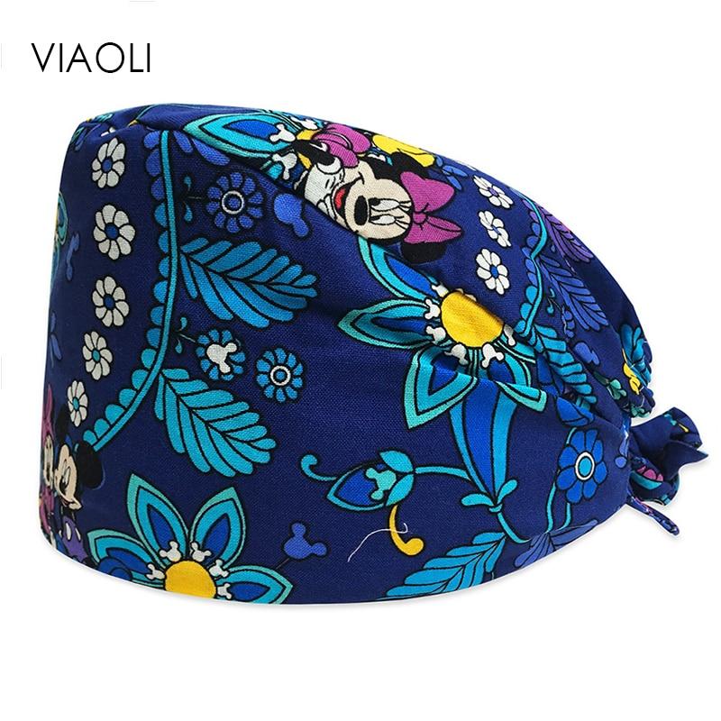 Viaoli New Dentist Surgical Caps Cotton Scrub Caps For Women And Men Hospital Medical Hats Printing Dentist Cap/hat