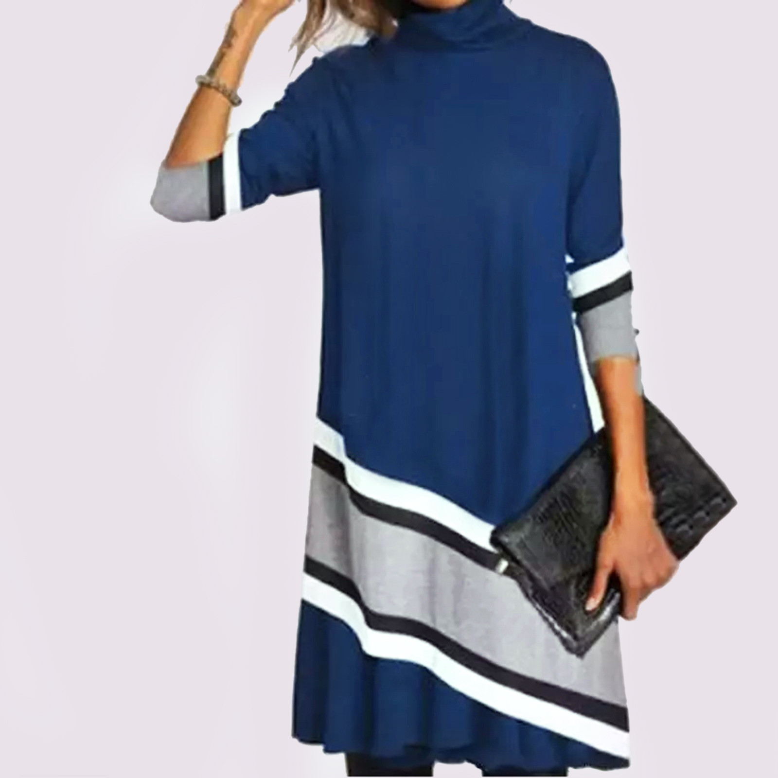 Dresses For Women Lady Patchwork printing Long Sleeve O Neck Turtleneck Dress Undefined Vintage Sexy Party