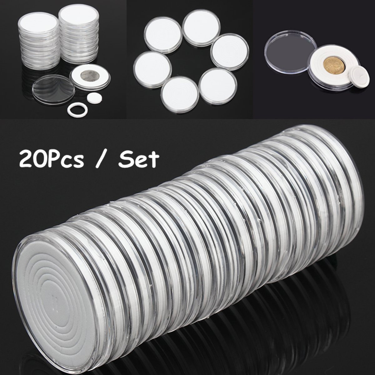 Lot Clear Round Coin Storage Cases Plastic Capsules Holders Container Boxes 40mm
