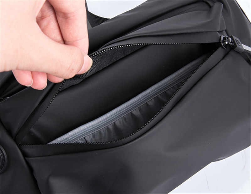 Su geçirmez bel çantası kadın erkek siyah bum kılıfı kemer bagsNew moda fannypack çanta seyahat omuz paketi kadın göğüs çanta