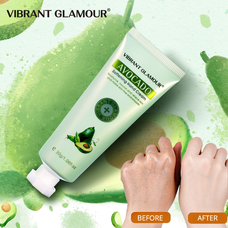 VIBRANT GLAMOUR AVOCADO Moisturizing Hand Cream 100% Plants Essence Hand Mask Nourishing Anti Chapping Oil Control Hand Care D01