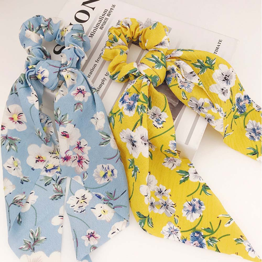 2020 Fashion Bohemian Hair Scarf For Women Elastic Hairband Dot Print Floral Pattern Hair Tie Ponytail Scrunchie Bow Hair Ropes