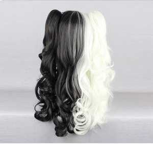 Image 3 - Anime Danganronpa Monokuma Cosplay Wig White Black Mix Long Ponytails Curly Heat Resistant Synthetic Hair Wigs + Wig Cap