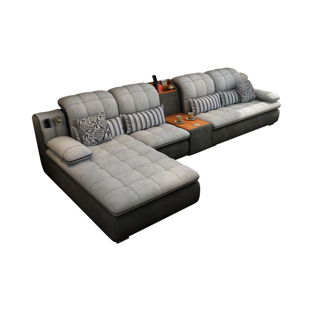 Velvet Fabric Sectional Sofa Living Room Sofa Set Furniture Alon Cup Holder Couch Puff Asiento Muebles De Sala Canape Sofa Cama