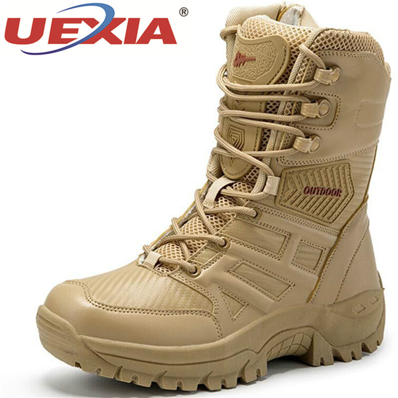NEW Military Outdoor Walking Tactical Mens Boots Special Force Leather Desert Combat Ankle Boot Army Men's Shoes Plus Size 39-47