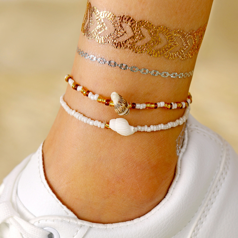 Bohemian Beads Cowrie Shell Anklet Set Vintage Female Ankle Bracelet Summer Beach Barefoot Jewelry Anklets For Women Leg Chain