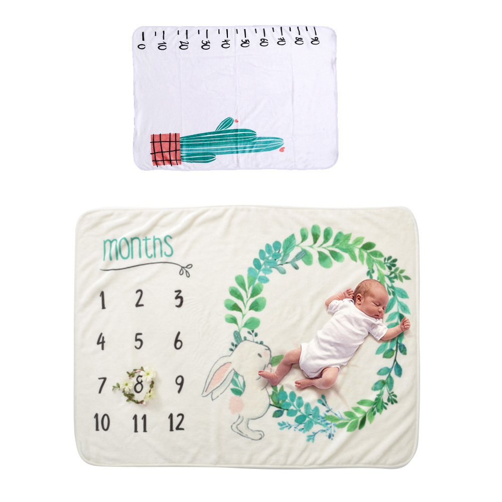 Newborn Baby Monthly Growth Milestone Blanket Photography Props Background Cloth Commemorate Rug Monthly Growth Number Rug